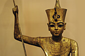 The King as harpooner, golden statue of king Tutankhamon, New Kingdom, Egyptian museum, Cairo, Egypt