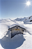 Alpine hut surrounded by snow, Winter, Lech, Austria