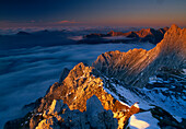 View at a mountain station at Karwendel mountains in the evening, Bavaria, Germany, Europe