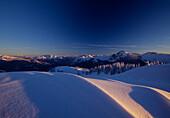 Winter landscape at sunset, Bavaria, Germany, Europe