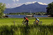 Two cyclists at lake Chiemsee, Upper Bavaria, Bavaria, Germany, Europe