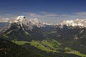 Aerial view of Leutasch valley and Hohe Munde, Tyrol, Austria, Europe