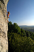 Woman climbing up a rock face in the sunlight, Franconian Switzerland, Bavaria, Germany, Europe