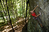 Woman climbing up a rock face in the forest, Franconian Switzerland, Bavaria, Germany, Europe
