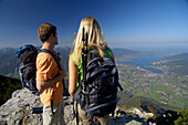 Young couple hiking at Tegernsee, Wallberg, Tegernsee, Upper Bavaria, Bavaria, Germany