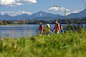 Family at Lake Staffelsee, Upper Bavaria, Bavaria, Germany