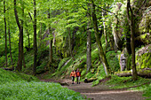 Couple hiking in Thuringian Forest, near Eisenach, Thuringia, Germany