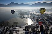 Hot Air Balloons over Bad Wiessee, Balloon Festival, Montgolfiade, Upper Bavaria, Bavaria, Germany, Europe