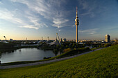 Olympia Park with Olympic tower and lake, Munich, Upper Bavaria, Bavaria, Germany, Europe