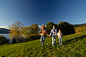 Family hiking near Lake Tegernsee, Bavaria, Germany, Europe