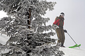 Junge Frau macht eine Skitour am Hochgrat, Allgäuer Alpen, Bayern, Deutschland, Europa