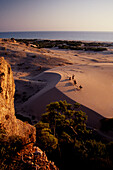 Riders on a dune at Pantara Beach in the evening, Lycia, Turkey, Europe
