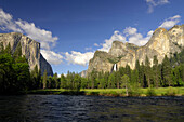 View over a river at trees and mountains, Yosemite National Park, California, North America, America