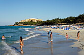People at beach, Hotel Melia Varadero in background, Varadero, Matanzas, Cuba, West Indies