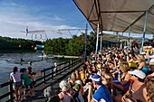 Spectators watching dolphin show, Varadero, Matanzas, Cuba, West Indies