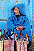 Blue, exterior, male, man, men, Morocco, Old, outdoor, outdoors, outside, Travel, Travels, World locations, World travel, A75-731168, agefotostock