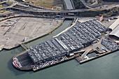 Automobiles at RORO dock,  Port of Pasaia,  Guipuzcoa,  Basque Country,  Spain