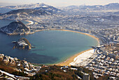 La Concha bay,  snow,  Donostia (aka San Sebastian). Guipuzcoa,  Basque Country,  Spain
