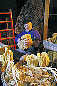 Sponge Docks in Tarpon Springs, Florida. Old man sorts sponges on warehouse.
