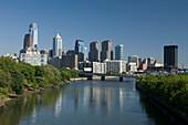 Tall buildings downtown skyline river schuylkill  Philadelphia  Pennsylvania  USA
