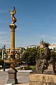 Golden muse column rudolfinum concert hall old town stare mesto. Prague. Czech Republic.