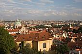 Mala strana skyline from hradcany castle overlook. Prague. Czech Republic.