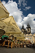Cafes old church of our lady before tyn old town square stare mesto. Prague. Czech Republic.