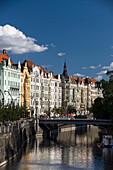 Art nouveau facades masarykovo nabrezi street vltava river old town stare mesto. Prague. Czech Republic.
