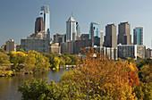 Schuylkill river downtown skyline Philadelphia. Pennsylvania. USA.