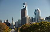 Ben franklin parkway downtown skyline Philadelphia. Pennsylvania. USA.