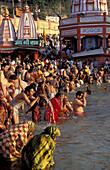 Adoration, Asia, Color, Colour, Festival, Ganges, Haridwar, Hinduism, India, Khumb Mela, Kumbh Mela, Man, Men, People, Puja, Religion, Uttarakhand, Uttaranchal, V58-800824, agefotostock