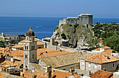 Franciscan Monastery, Lovrijenac Fort, red rooftops, from old city walls, Dubrovnik, Dalmatian Coast, Croatia, Former Yugoslavia