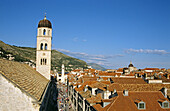 Franciscan Monastery, Stradun, bell tower at end of Stradun, red rooftops, Dubrovnik, Dalmatian Coast, Croatia, Former Yugoslavia