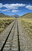 Railway track through the Andes mountain range, Puno to Cusco Perurail train journey, Peru