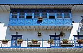 Ornate unusual balcony, Cusco, Peru