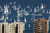 Yachts leaving Las Palmas on Gran Canaria at the start of the ARC transatlantic race.