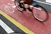 Bicycle lane, Barcelona. Catalonia, Spain