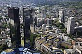 Germany, Hessen, Frankfurt am Main, general aerial view, Deutsche Bank Towers