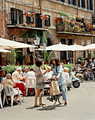 Cafe scene in Piazza Navona, Rome, Lazio, Italy