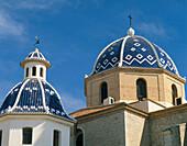Church with colourful blue domes, Altea, Costa Blanca, Spain
