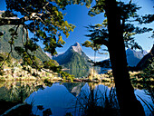 View of Lake & Mitre Peak, Milford Sound, South Island, New Zealand