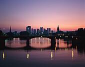 Financial District at Sundown, Frankfurt am Main, Hesse, Germany