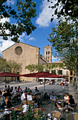 Cafe Scene, Main Square, Pollenca, Mallorca, Balearic Islands
