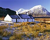 Blackrock Cottage in Winter, Rannoch Moor, Highland, UK, Scotland