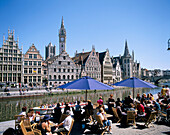 Canal Scene with Cafe, Ghent, Flanders, Belgium