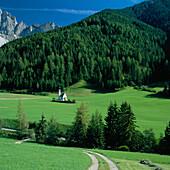 Chapel of St. Johann in Ranui, Valley of Villnoss, General Landscape, Trentino-Alto Adige, Italy