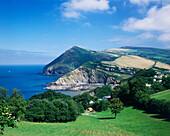 Land & Seascape with Village, Combe Martin, Devon, UK, England
