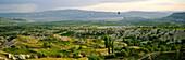 TUFA FORMATIONS & HOT AIR BALLOONS AT DAWN, UCHISAR, NR, CAPPADOCIA, TURKEY
