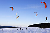 Snowkiting at mount Fichtelberg, Ore mountains, Saxony, Germany