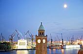 Water level tower, St. Pauli Landing Bridges, Hamburg, Germany